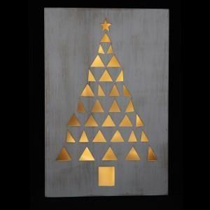 Kerstboom Hout Wit 10 Leds Op Batterijen