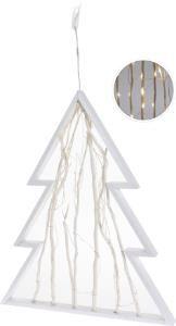 Kerstboom Hout Wit 30 Leds 48cm Op Batterijen